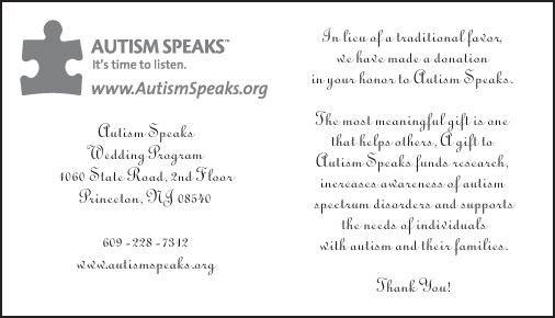 ... table tent cards scrolls or bookmarks containing a heartfelt message about your charitable gift.  sc 1 th 170 & Autism Speaks